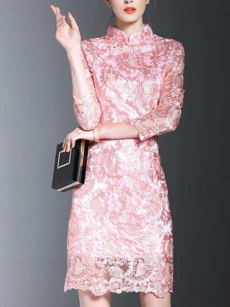Pink Elegant Stand Collar See-through Look Midi Dress