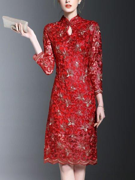 Elegant A-line Long Sleeve Keyhole Floral Midi Dress