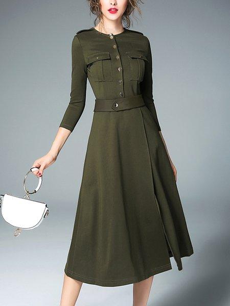 Dark Green A-line Pockets 3/4 Sleeve Midi Dress