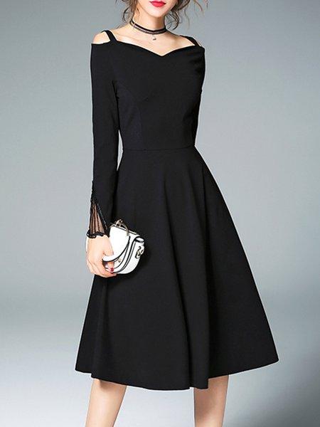 Black Elegant Solid A-line Midi Dress