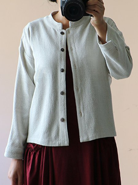Stand Collar Casual Long Sleeve Linen Outerwear