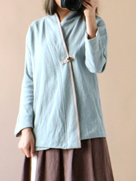 Long Sleeve H-line Solid Linen Outerwear