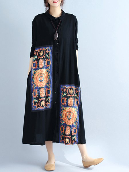 Black Abstract Casual Printed H-line Linen Dress