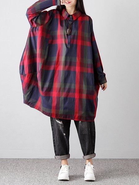 Red Shirt Collar Casual Checkered/Plaid Linen Dress