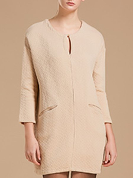 Long Sleeve Casual Solid Keyhole Linen Top