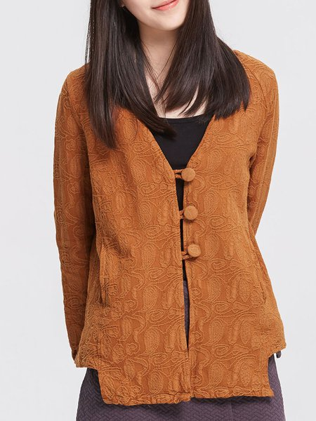 Brown Long Sleeve Cotton Jacquard V Neck Linen Outerwear