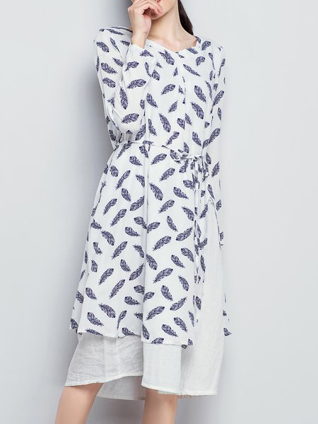 Print Shift V Neck Long Sleeve Linen Dress