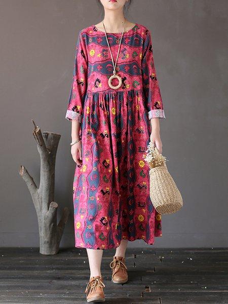 Long Sleeve Printed Linen Dress