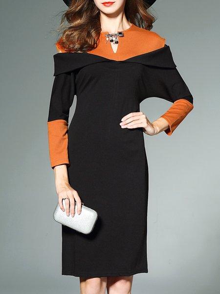 Color-block Elegant Crew Neck Long Sleeve Midi Dress