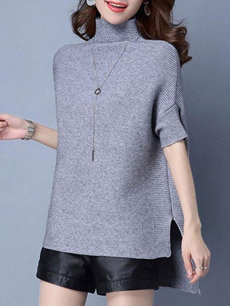 Plus Size Turtleneck Shorts Sleeve Sweater