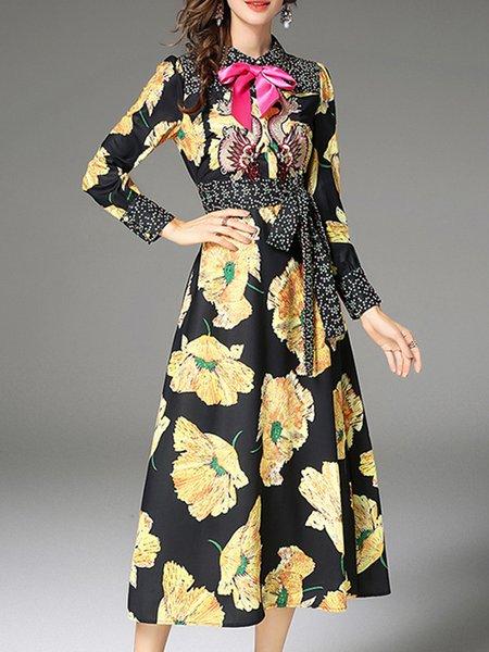 Long Sleeve A-line Floral Bow Midi Dress