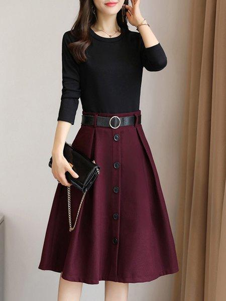 Midi Dress A-line Daily Long Sleeve Paneled Dress