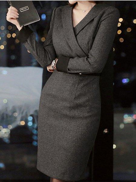 Casual Long Sleeve Surplice Neck Midi Dress