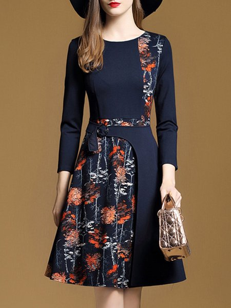 Dark Blue A-line Long Sleeve Crew Neck Midi Dress
