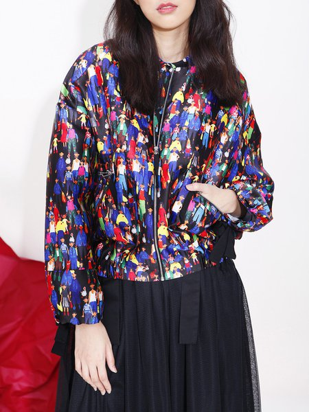 Multicolor Vintage Printed Balloon Sleeve Cropped Jacket