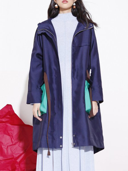 Navy Blue Color-block Hoodie Long Sleeve Coat