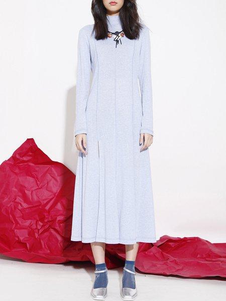 Blue Long Sleeve Knitted Slit Midi Dress