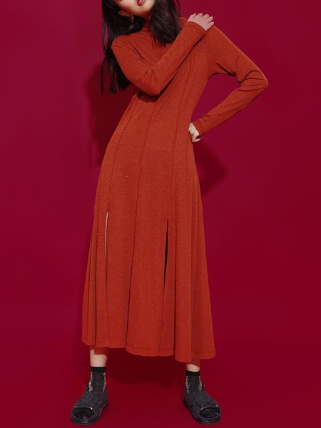 Red Long Sleeve Slit Plain Midi Dress