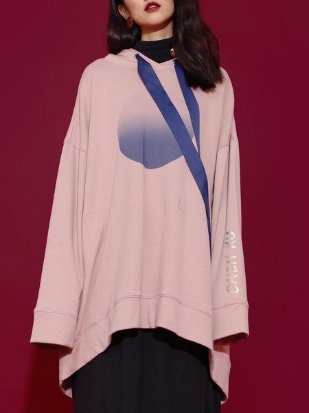 Pink Printed Shift Color Block Casual Hoodies And Sweatshirt