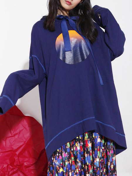Long Sleeve Casual Color-block Hoodies And Sweatshirt