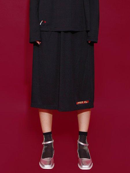 Black A-line Plain Embroidered Statement Slit Midi Skirt