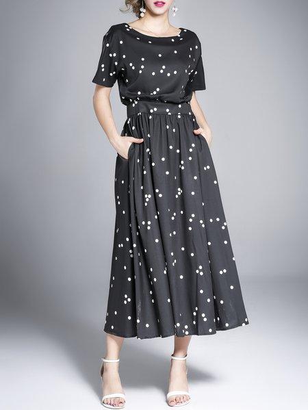 Black Printed Polka Dots Shorts Sleeve A-line Midi Dress
