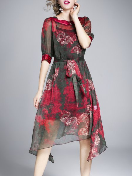 Plus Size A-line Printed Half Sleeve Bateau/boat Neck Dress With Cami