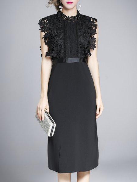 Plus Size Black Elegant Tailored-Fit Waist Crochet Lace Dress