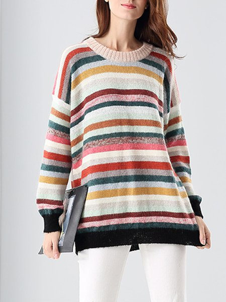 Crew Neck Stripes Knitted Casual Long Sleeve Sweater