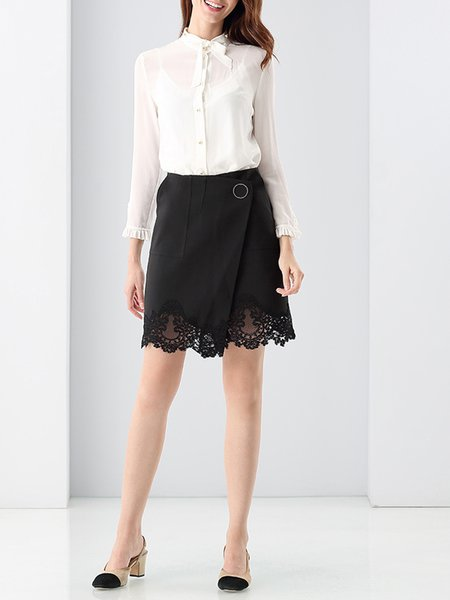Black A-line Lace Buttoned Simple Mini Skirt