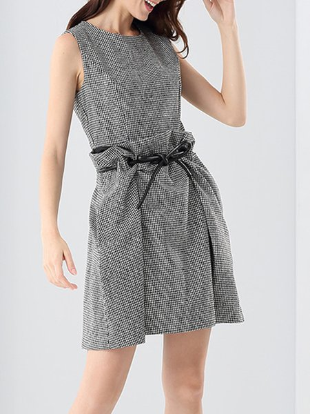 Gray A-line Sleeveless Checkered/Plaid Polyester Mini Dress