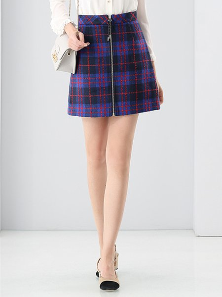 Purple Sweet Checkered/Plaid A-line Mini Skirt