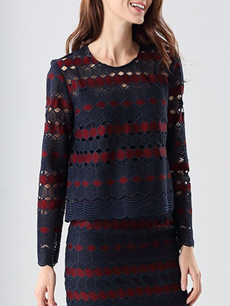 Purplish Blue Pierced Color-block Long Sleeved Top