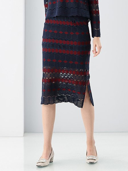 Purplish Blue Sweet Geometric Pierced Midi Skirt