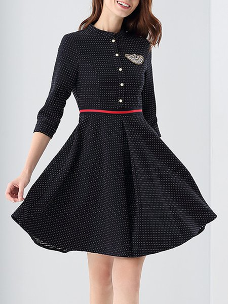 Black Polka Dots Paneled Sweet A-line Stand Collar Midi Dress