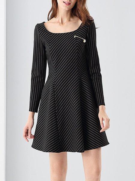 Black Long Sleeve Folds A-line Mini Dress