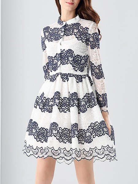 White Paneled Cotton Girly Midi Dress