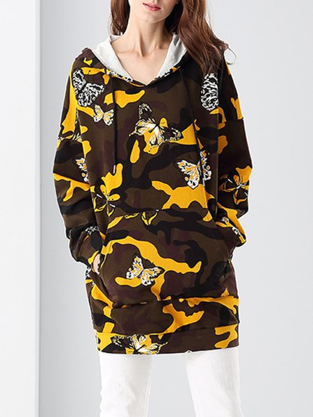 Multicolor  Long Sleeve Animal Print Hoodie