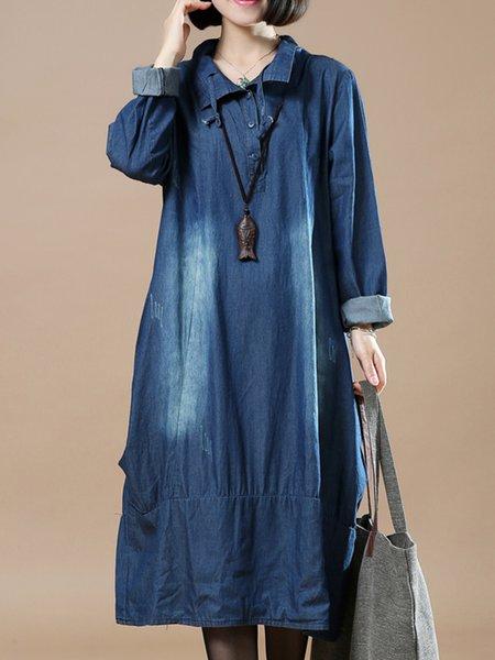 Casual Long Sleeve Shirt Collar Dress