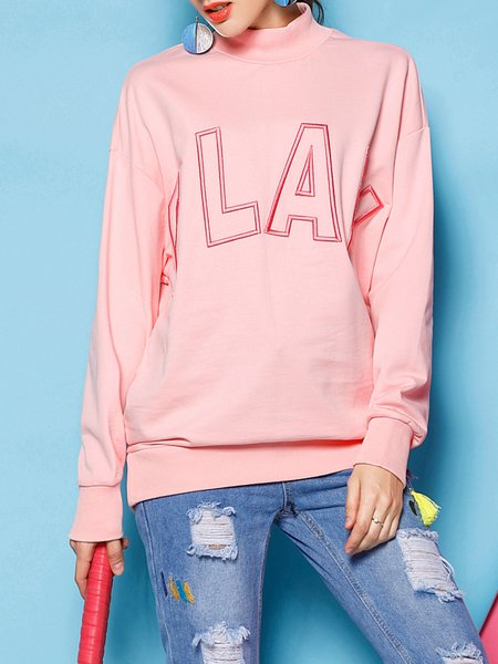 Pink Casual Embroidered Letter Top