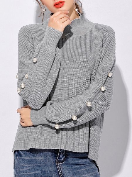 Beaded Long Sleeve Cotton-blend Casual Sweater