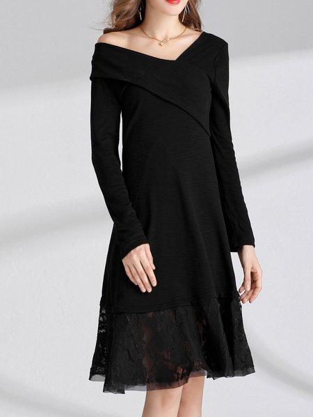Black A-line Long Sleeve Cotton-blend Midi Dress