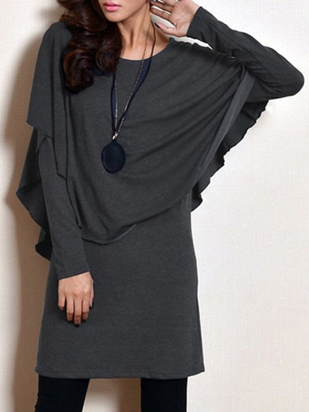 Deep Gray Asymmetrical Long Sleeve Paneled Midi Dress