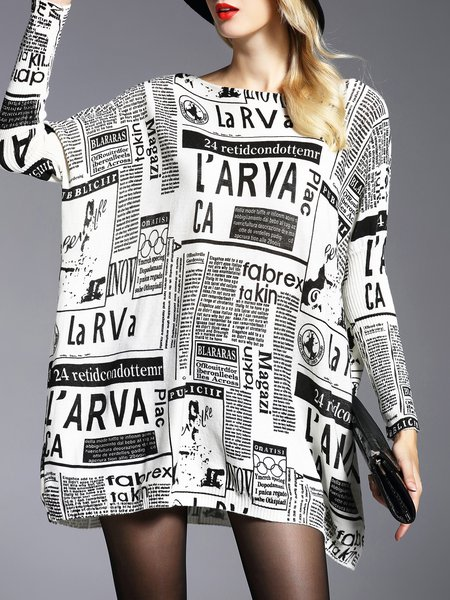 Casual Wool blend Letter Printed Batwing Sweater