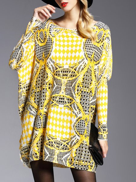 Yellow Long Sleeve Bateau/boat Neck Knitted Sweater