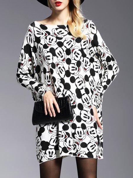White-black Long Sleeve Bateau/boat Neck Shift Sweater