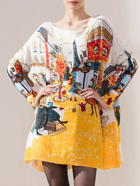 Multicolor Knitted Printed Sweater