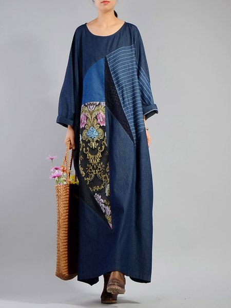 Navy Blue Cotton Casual Paneled Linen Dress