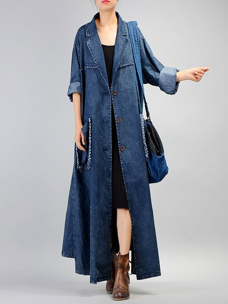 H-line Denim Long Sleeve Casual Linen Outerwear