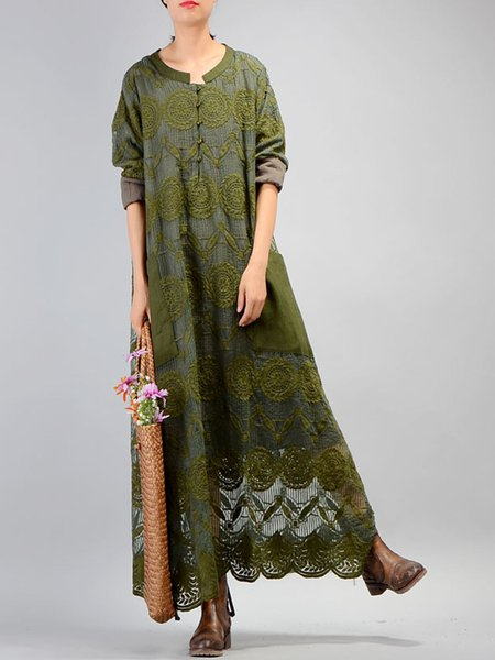 Guipure Lace Casual Crew Neck Linen Dress